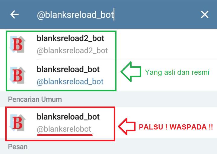 Panduan Transaksi Pulsa, Kuota, dan lain-lain Via Telegram @blanksreload_bot (BOT Tipe-1)